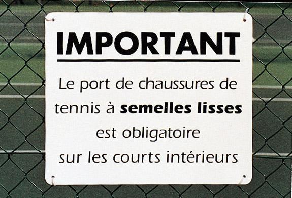 pancarte tennis