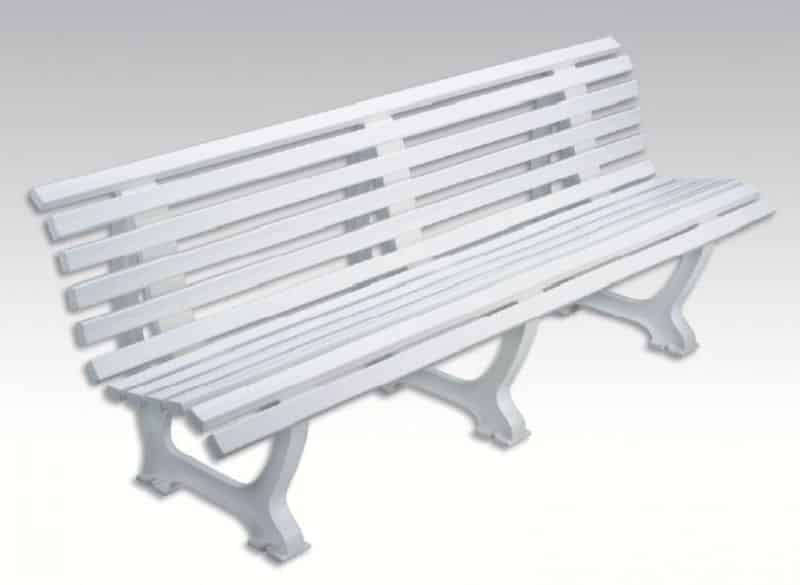 banc plastique confort avec dossier 2m blanc vw sports. Black Bedroom Furniture Sets. Home Design Ideas
